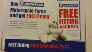 Free fitting on Michelin motorcycle tyres