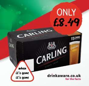 Cheer the Beer! 15 Carling for £8.49  from Costcutter