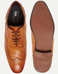 Asos leather Oxford brogues in tan - free delivery £22.50