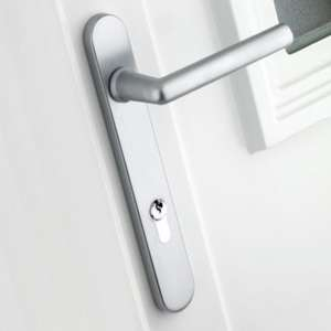 B&Q Satin Chrome Effect Straight External Locking Door Handle, Pack of 1 Pair. Save £23.98 @ B&Q