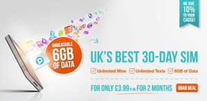 6GB of Data, Unlimited Min and Texts - £3.99 for the first 2 Months!! 30 Day Contract (£14.99 after) @ The People's Operator
