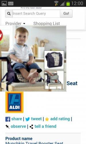 Munchkin travel booster seat @ Aldi £7.49