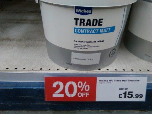 wickes trade contract matt emulsion paint 10L - 20% off £15.99.