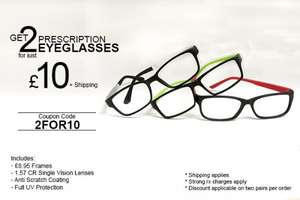2 Prescription Glasses £10.00 + Shipping @ Goggles4u