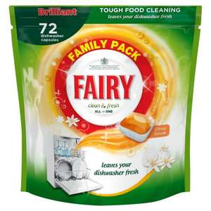 Fairy Clean & Fresh Citrus Grove Dishwasher Tablets 72 Pack - Cheapest in the Land! £6.95 @ Iceland