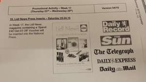 Spend £40 save £5 @ Lidl from Sat 25th April. BUY A NEWSPAPER!