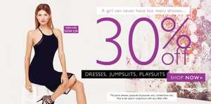 30% Off Full Price Dresses, Jumpsuits and Playsuits this weekend at Jane Norman