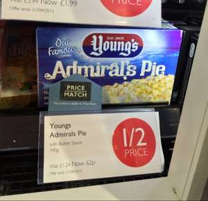 Young's Admiral's Pie 340g .62p Booths supermarket