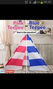 Teepees £29.99. Pink or blue @ Home bargains