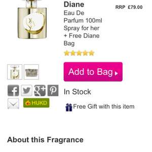 £15 Diane Von Furstenberg-Eau De Parfum 100ml+Free Diane Bag RRP £79 online and store @ The Fragrance Shop