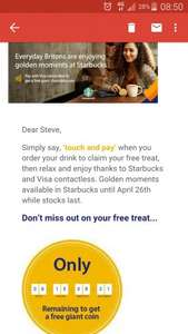 Free large gold chocolate coin at Starbucks with visa when you order your drink