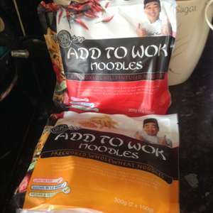 Chef kuo's noodles wholewheat noodles and chilli noodles 2 for a £1 it's 300g at @ home bargains