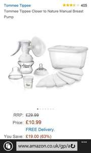 Tommee Tippee Closer to Nature Manual Breast Pump, £10.99, delivered at Amazon