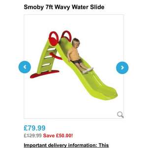 Smoby 7ft wavy water slide £64 @ toysrus