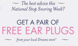 Free Ear Plugs - National Stop Snoring Week @ dreams