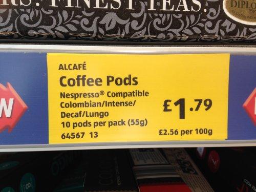 Alcafe Nespresso compatible pods x 10 £1.79 @ Aldi