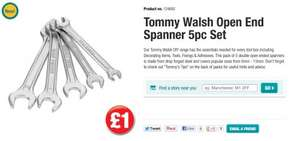 NEW Tommy Walsh DIY tools range in Poundland eg.5 piece open end spanner set only £1 see below for other items they're selling.