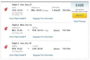 Paris-Melbourne-Beijing-London for £498 with Air China @ expedia