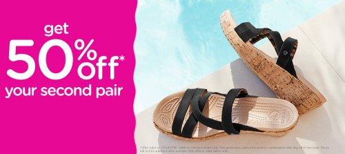 50% off your second pair of Crocs - online @ Crocs