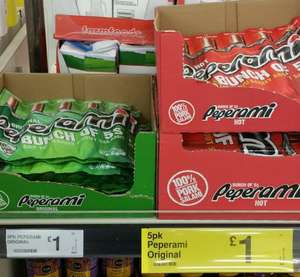 Peperami 5 Pack Original or Hot £1 @ instore Farmfoods