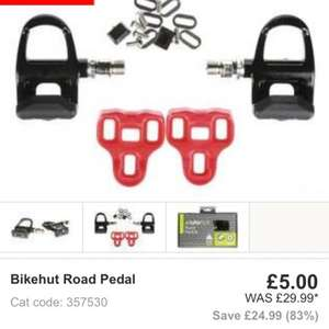 Bikehut road cycling pedals £5 with free spd road cleats £5 at Halfords click n collect ( road hybrid bikes etc)