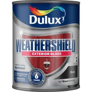 Dulux Weathershield Exterior Gloss Paint Black 750ml, £9 @ Wilko.