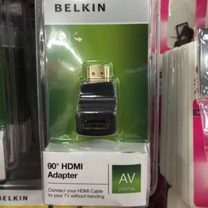 Belkin 90 degree HDMI adapter £1 in store at Poundland.  Connect your HDMI cable to TV without bending.