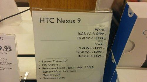 Nexus 9 32GB £199.00 - John Lewis instore