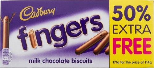 Cadbury Fingers 114g + 50% Extra - 69p Instore @ B&M