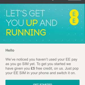 Free EE PAYG sim and £5 Credit when you top up