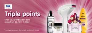 Boots - Triple points event - when you spend £30 in store or £50 online