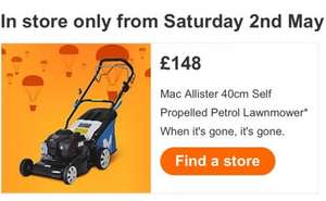 Mac Allister 40cm self propelled petrol lawnmower only £148 price available from 2nd May @ B and Q (Instore only)