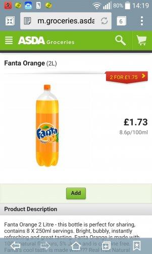 2L fanta orange, Dr pepper or 1.75L coke 2 for £1.75 @ ASDA