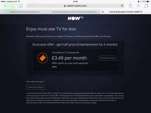 Now TV Entertainment - retention deal - 4 months at £3.49 per month instead of £6.99