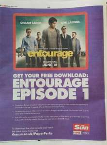 Free Episode of Entourage on Google Play with The Sun Paper Perks