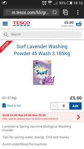 Surf 45 Wash £5 - Tesco