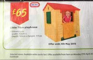 Little tikes playhouse £65 down from £89 over bank hol weekend instore @ ASDA