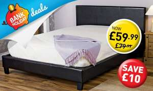 BLACK - FAUX LEATHER BED DOUBLE £59.99 at Poundstretcher