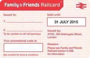 FREE FREE FREE 2 months Family & Friends National Rail Railcard {*MUST travel with a CHILD (5-15)}