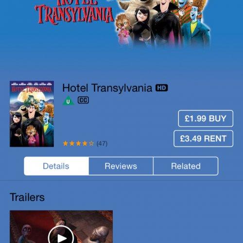 Hotel Transylvania HD £1.99 iTunes