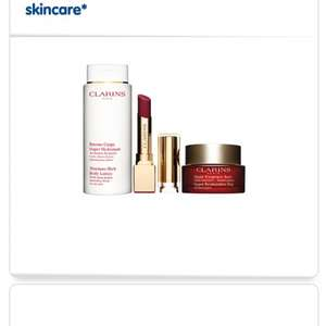 Clarins at Boots offer: Buy any 2 Clarins pruducts,1 to be skincare,and receive 3 free Clarins travel products