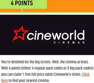 Tic Tac Rewards (4 points) [£1.60] for Adult Cineworld e-ticket