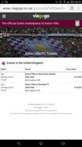 watch Aston Villa vs West Ham and Burnley at Villa Park, Birmingham. tickets starts from £15 each via O2 priority code, online only.