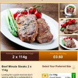 Weston gourmet 2x4oz steaks £1.20 + p&p £4.95 (min order £20)