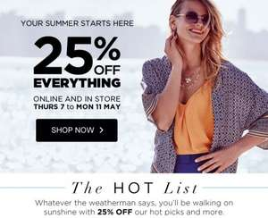 25% off everything at Dorothy Perkins, plus free worldwide delivery for orders over £30