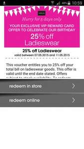 25% off ladies wear at Matalan (Black Card Holders)