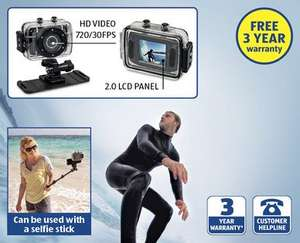 HD 720p digital video action camera with 3 year warranty £29.99 @ Aldi from 14th
