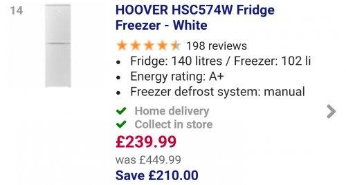 HOOVERHSC574W Fridge Freezer - White- £229.99 - Currys