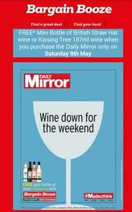 Free mini bottle of wine when you purchase Daily Mirror on 9 May @ Bargain Booze