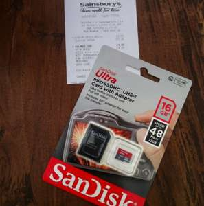 Sandisk 16gb SD/Micro SD card £4.00 @ Sainsburys